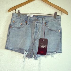Levi's 501 raw edge denim shorts NWT 28